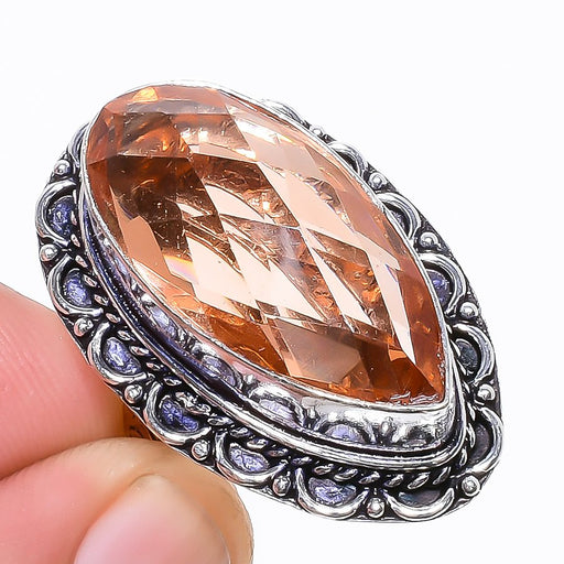 Morganite Gemstone Handmade Jewelry Ring Size 6 RR1160