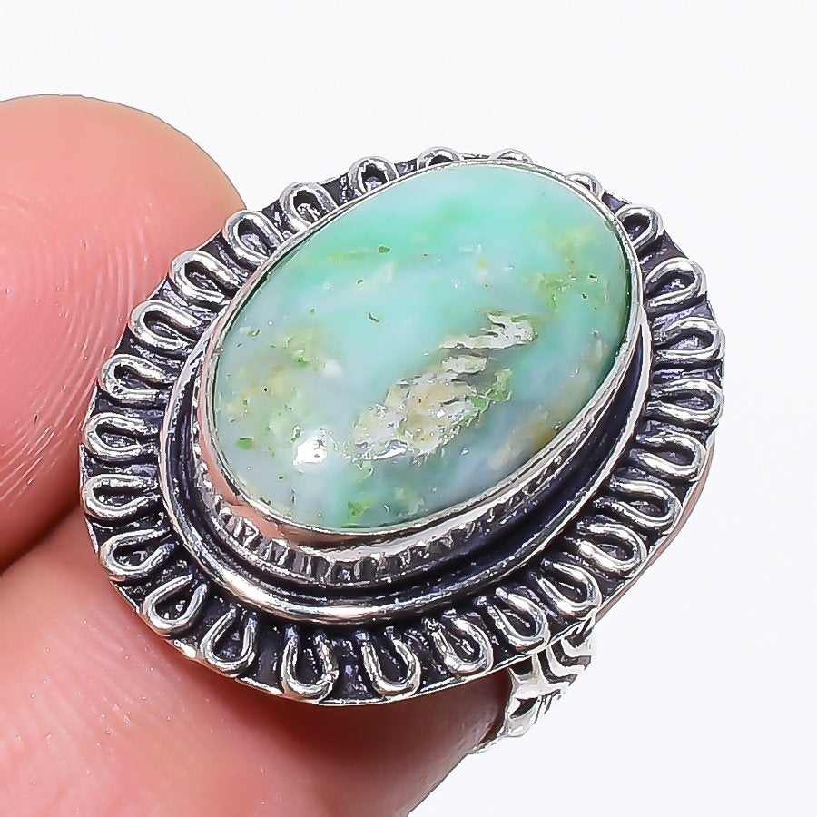 Variscite Gemstone Handmade Jewelry Ring Size 5.5 RR116