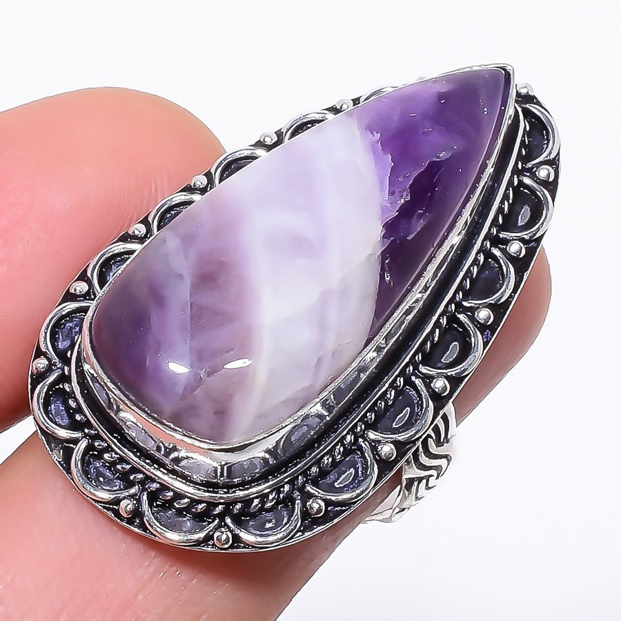 Chevron Amethyst Gemstone Ethnic Jewelry Ring Size 7 RR119