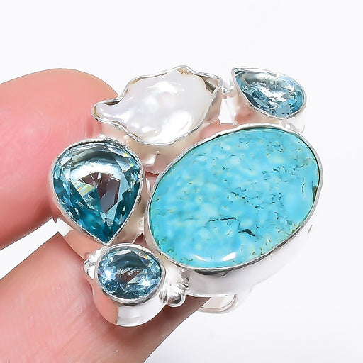 Turquoise, Blue Topaz Ethnic Jewelry Ring Size Adjustable RR1202