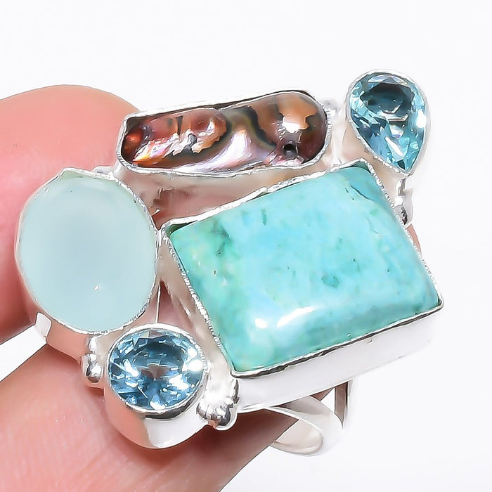 Turquoise, Chalcedony Ethnic Jewelry Ring Size Adjustable RR1208