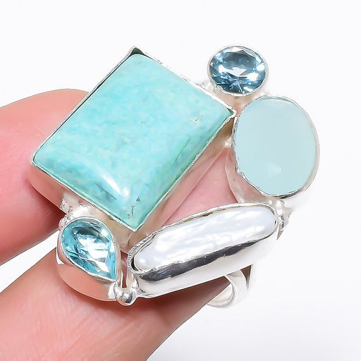 Turquoise, Multi Gem Gemstone Jewelry Ring Size Adjustable RR1210