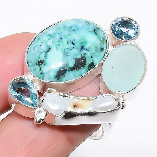 Turquoise, Multi Gem Gemstone Jewelry Ring Size Adjustable RR1223