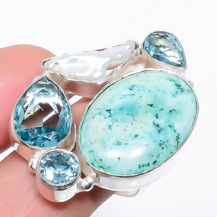 Turquoise, Blue Topaz Ethnic Jewelry Ring Size Adjustable RR1238