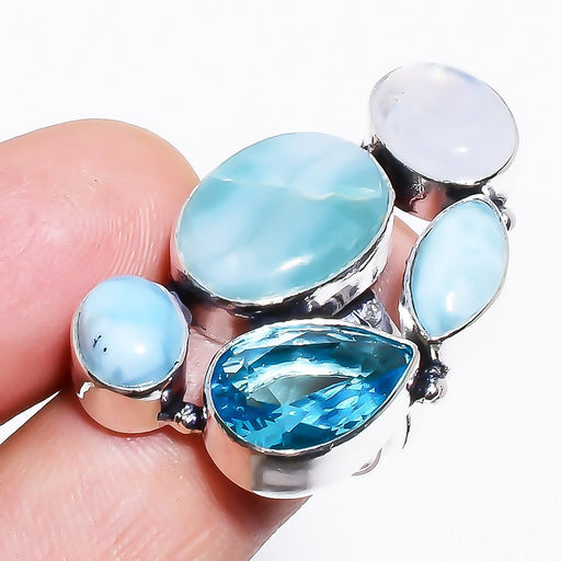 Caribbean Larimar, Blue Topaz Jewelry Ring Size 8.5 RR1302