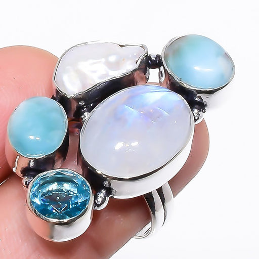 Rainbow Moonstone, Larimar Jewelry Ring Size 7.5 RR1306