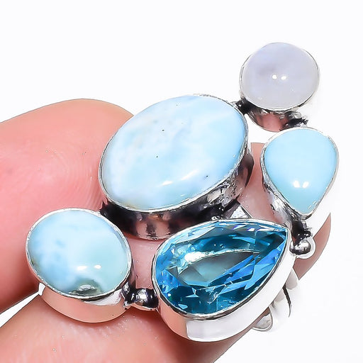 Caribbean Larimar, Blue Topaz Jewelry Ring Size 7.5 RR1312