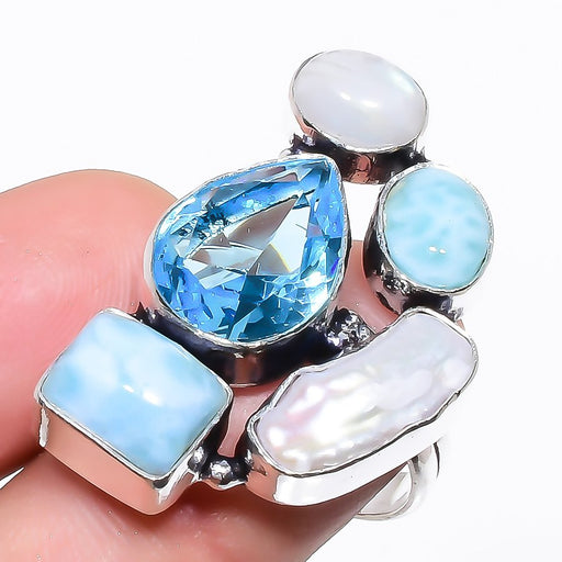 Blue Topaz, Larimar Gemstone Jewelry Ring Size 8 RR1313