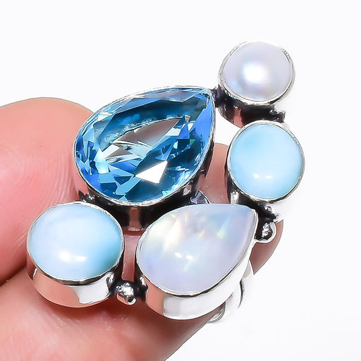 Blue Topaz, Larimar Gemstone Jewelry Ring Size Adjustable RR1314