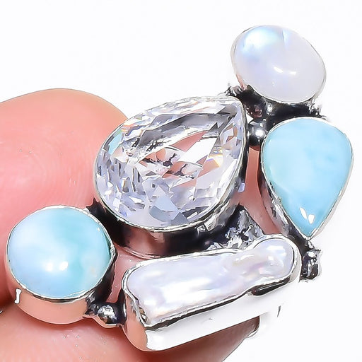 White Topaz, Larimar Gemstone Jewelry Ring Size 5.5 RR1318