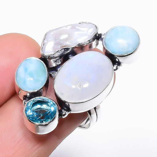 Rainbow Moonstone, Larimar Jewelry Ring Size 9 RR1320