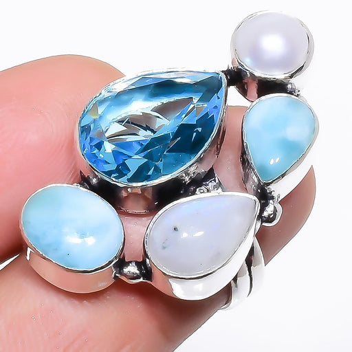 Blue Topaz, Larimar Gemstone Jewelry Ring Size 6 RR1322