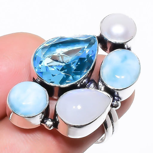 Blue Topaz, Larimar Gemstone Jewelry Ring Size 7 RR1323