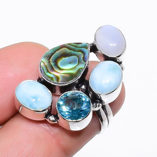 Abalone Shell, Larimar Gemstone Jewelry Ring Size 5.5 RR1324