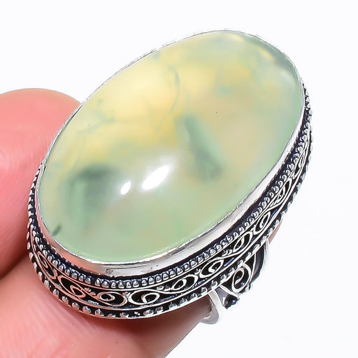 Prehnite Gemstone Vintage Jewelry Ring Size 6 RR1334