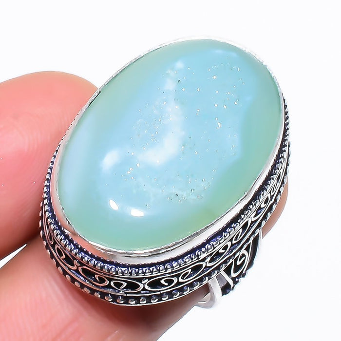 Aqua Agate Druzy Vintage Jewelry Ring Size 7 RR1335