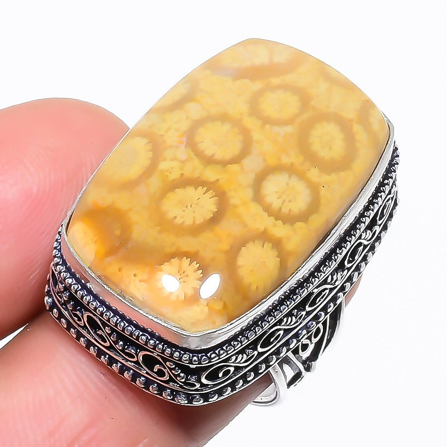 Fossil Coral Gemstone Vintage Jewelry Ring Size 7 RR1351