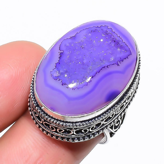 Purple Agate Druzy Vintage Jewelry Ring Size 7 RR1358