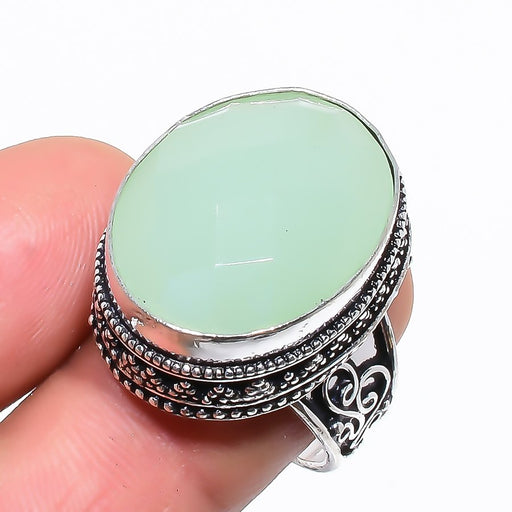 Green Chalcedony Vintage Jewelry Ring Size 8 RR1359