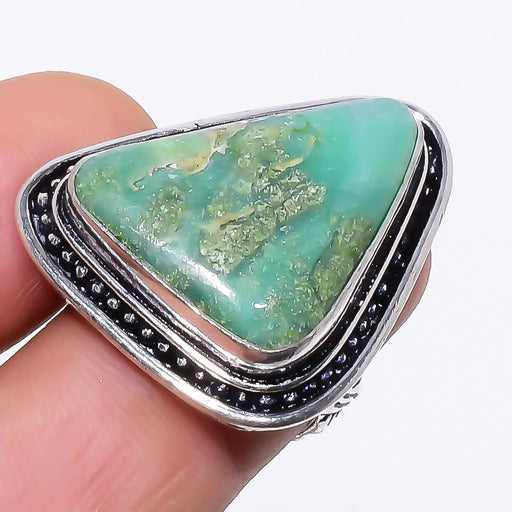 Variscite Gemstone Handmade Jewelry Ring Size 6.5 RR136