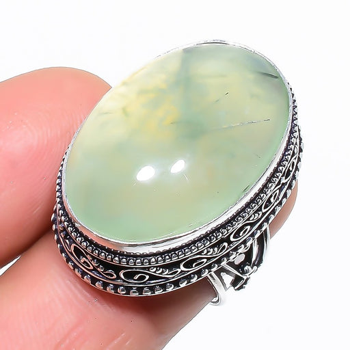 Prehnite Gemstone Vintage Jewelry Ring Size 6 RR1427