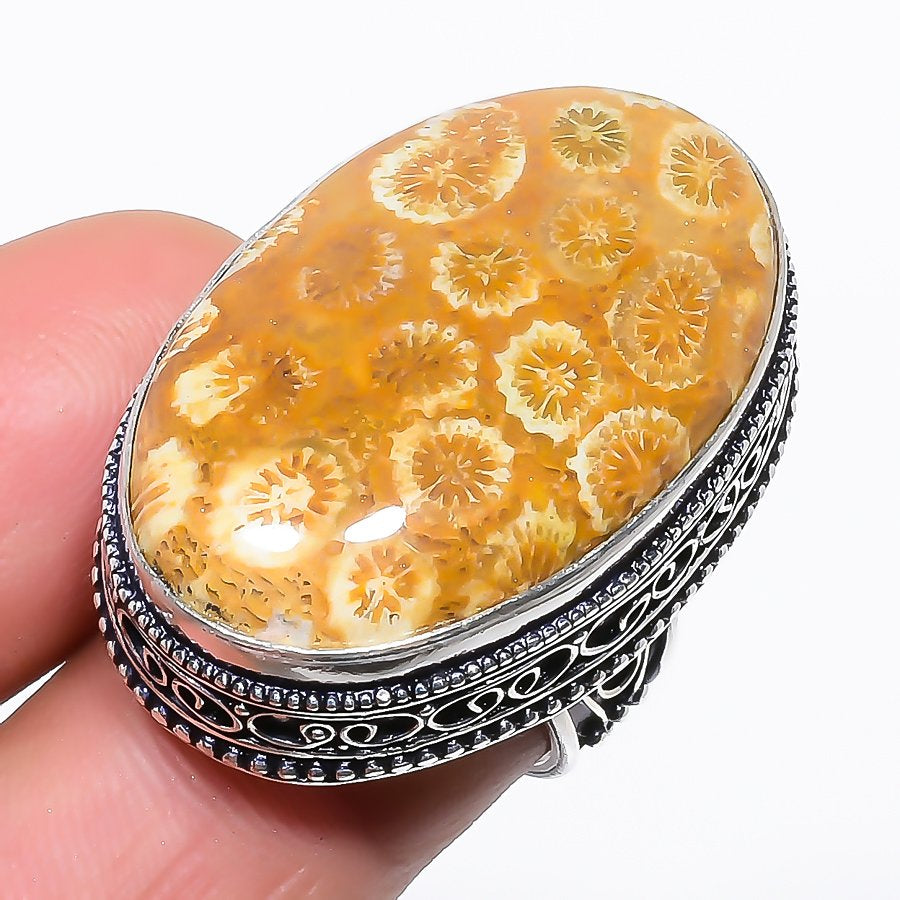 Fossil Coral Gemstone Vintage Jewelry Ring Size 6.5 RR1459