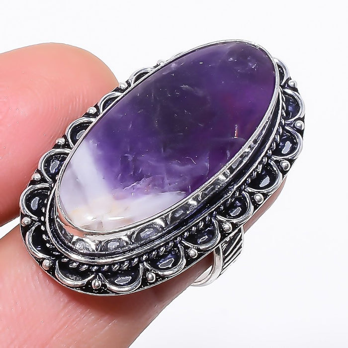 Chevron Amethyst Gemstone Ethnic Jewelry Ring Size 7 RR145