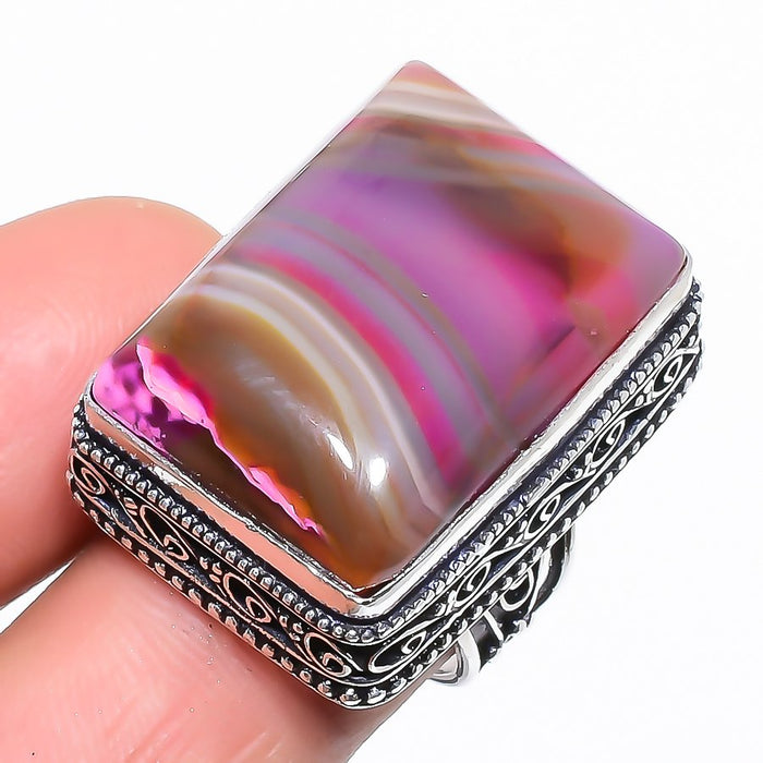 Pink Lace Agate Gemstone Vintage Jewelry Ring Size 7 RR1497