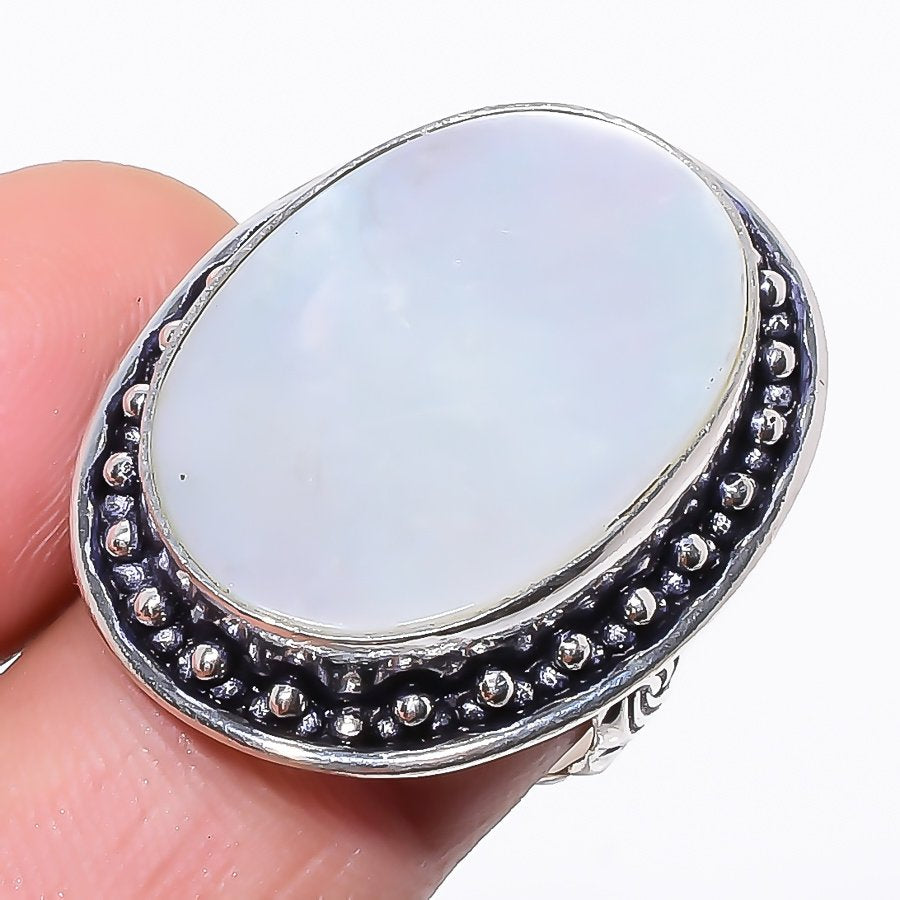 Mother Of Pearl Gemstone Handmade Jewelry Ring Size 6.5 RR149