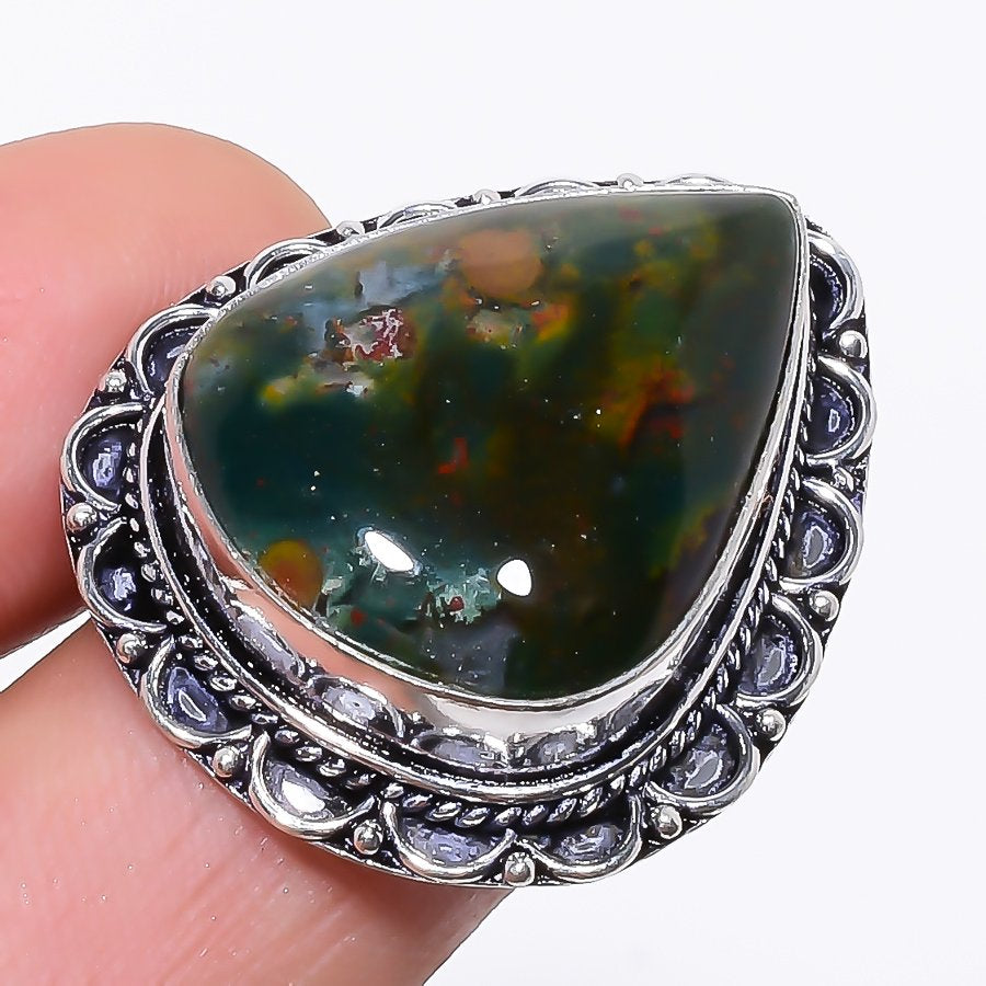 Bloodstone Gemstone Handmade Jewelry Ring Size 7 RR150