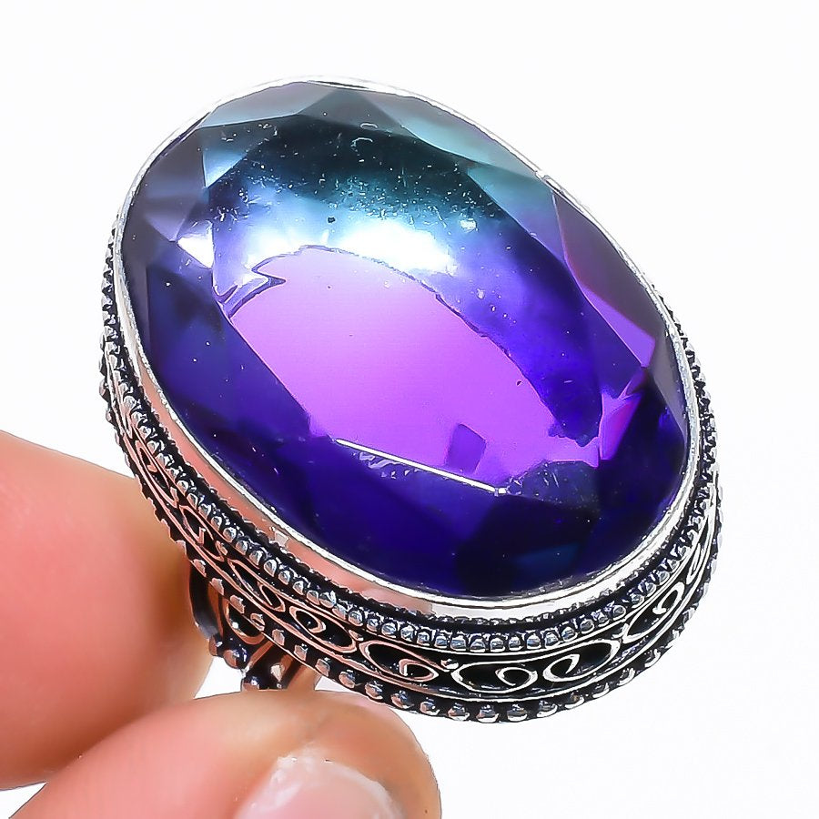 Bi-Color Tourmaline Vintage Jewelry Ring Size 8 RR1524
