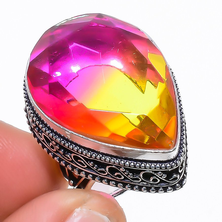 Bi-Color Tourmaline Vintage Jewelry Ring Size 5.5 RR1525