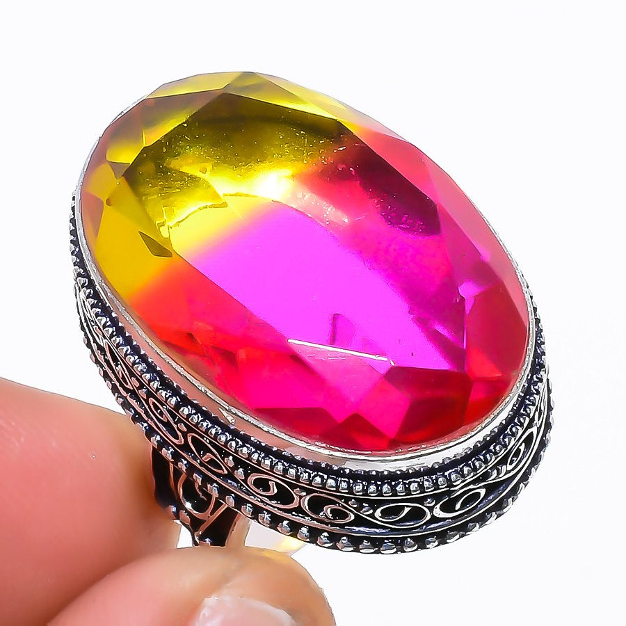 Bi-Color Tourmaline Vintage Jewelry Ring Size 7 RR1528