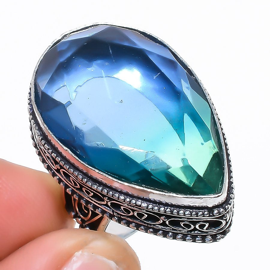 Bi-Color Tourmaline Vintage Jewelry Ring Size 7.5 RR1531