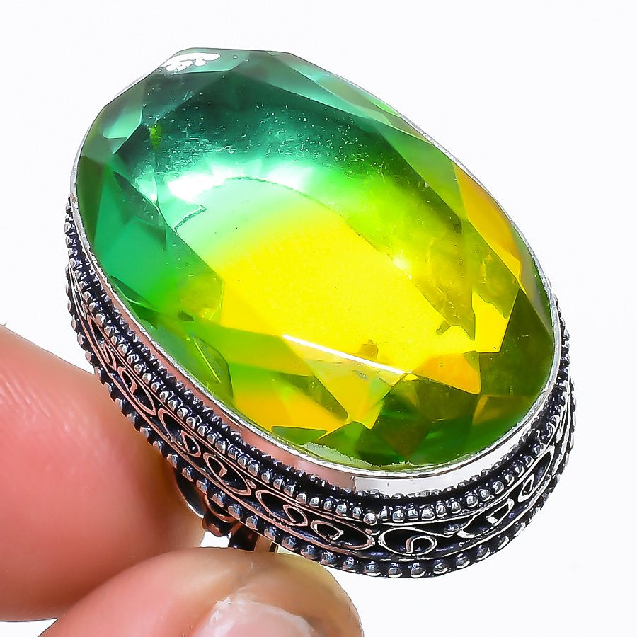 Bi-Color Tourmaline Vintage Jewelry Ring Size 7 RR1564