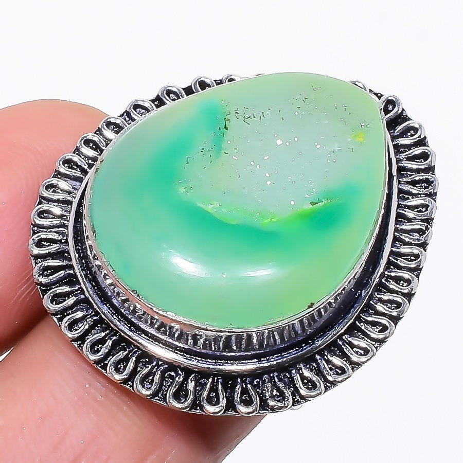 Green Agate Druzy Gemstone Ethnic Jewelry Ring Size 6.5 RR181