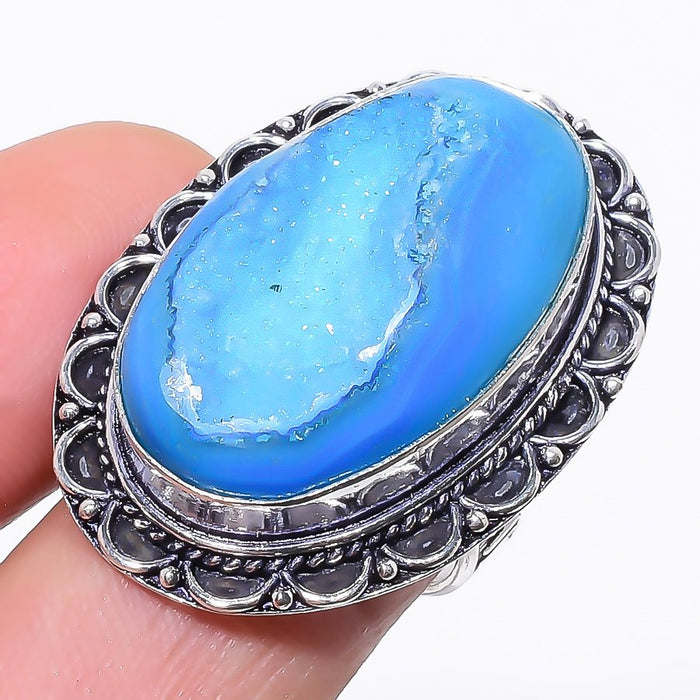 Blue Agate Druzy Gemstone Ethnic Jewelry Ring Size 7 RR184