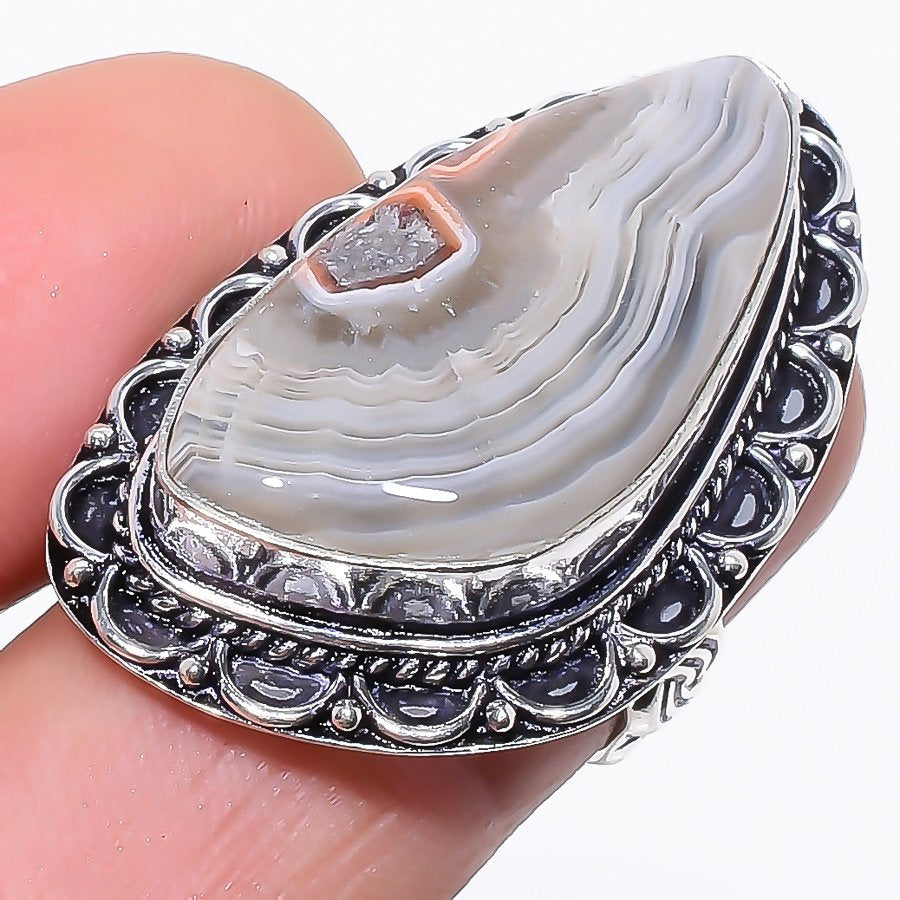 Laguna Lace Agate Gemstone Ethnic Jewelry Ring Size 6 RR209