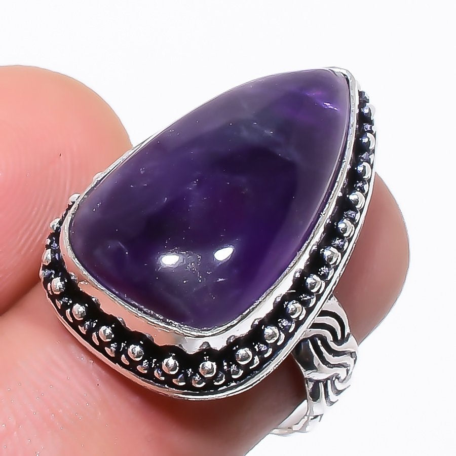 African Amethyst Gemstone Ethnic Jewelry Ring Size 7 RR236