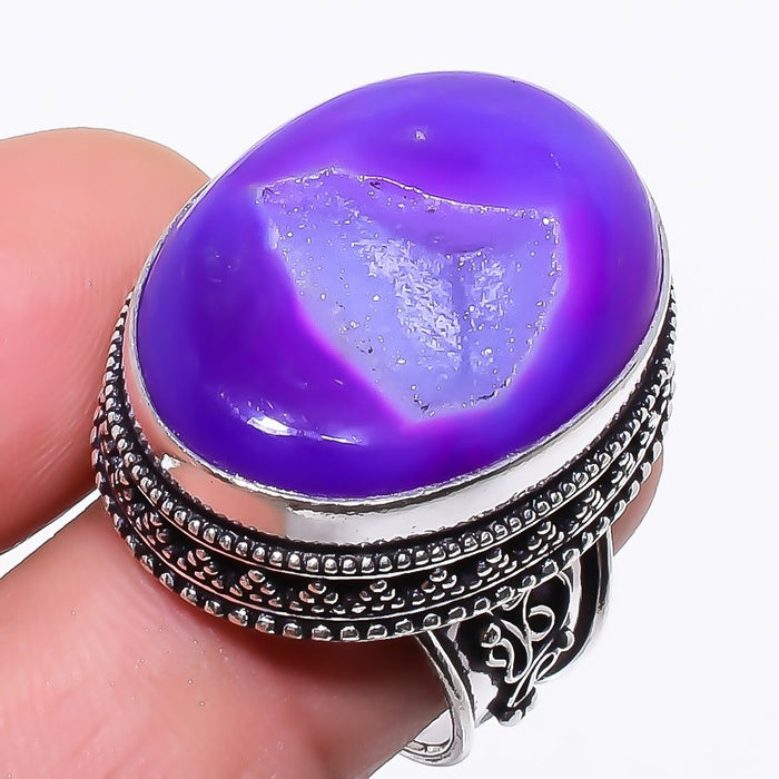 Purple Agate Druzy Vintage Jewelry Ring Size 7.5 RR28