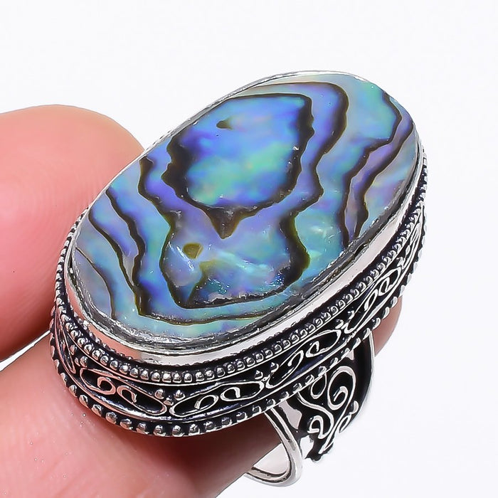 Abalone Shell Gemstone Vintage Jewelry Ring Size 8 RR42