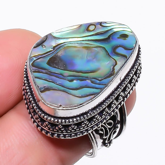 Abalone Shell Gemstone Vintage Jewelry Ring Size 6.5 RR53