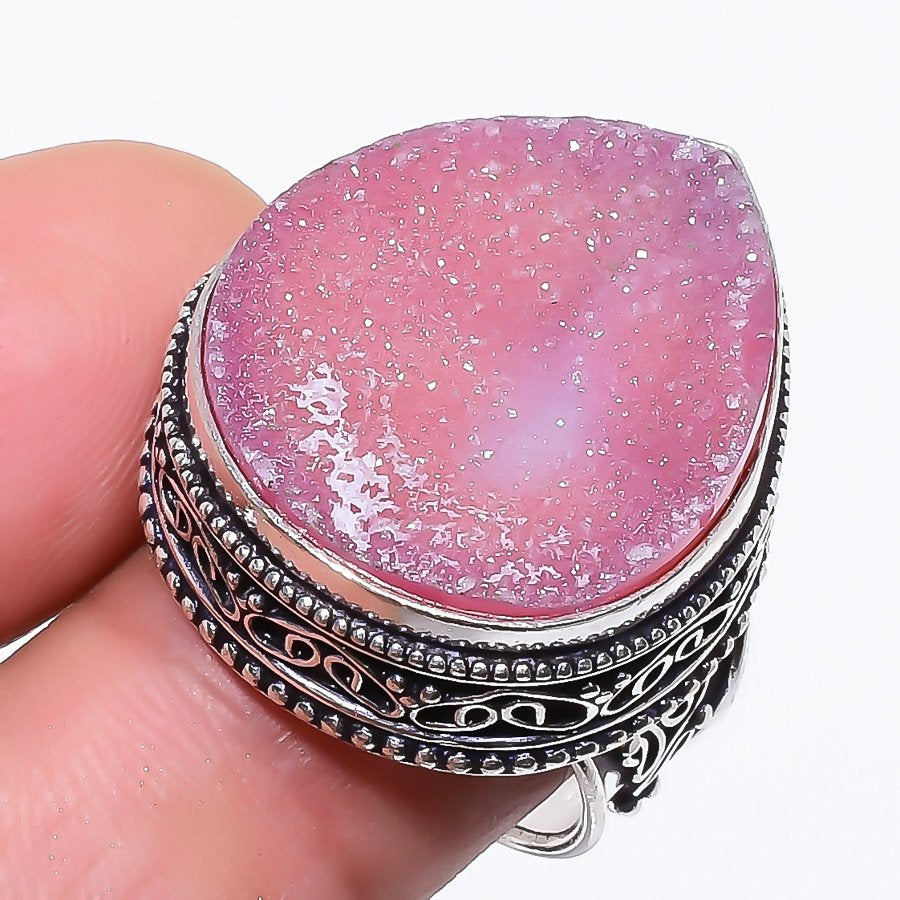 Pink Titanium Druzy Vintage Jewelry Ring Size 8 RR54