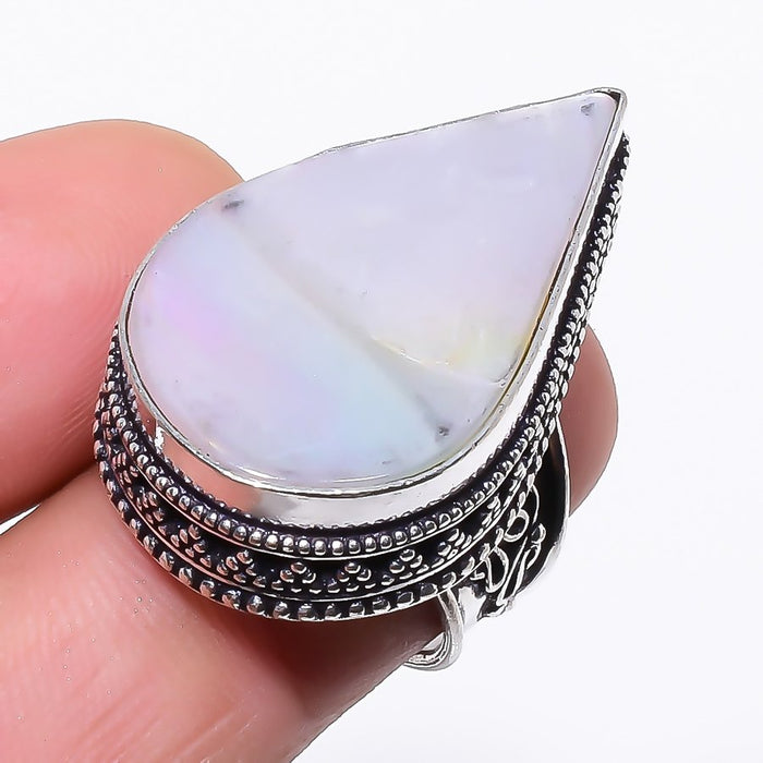Mother Of Pearl Gemstone Vintage Jewelry Ring Size 6.5 RR56