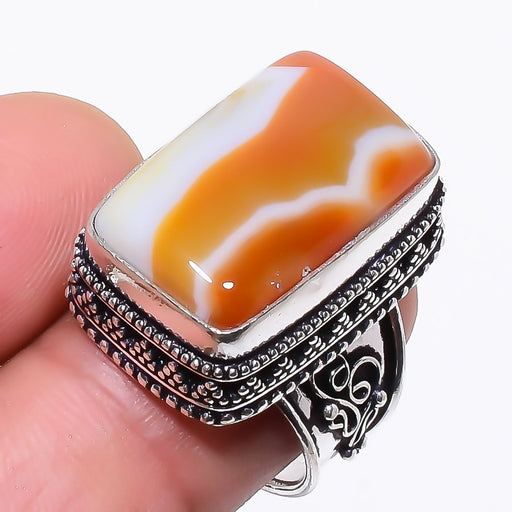 Montana Lace Agate Vintage Jewelry Ring Size 7.5 RR60