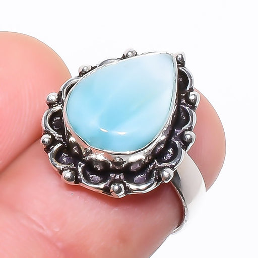 Caribbean Larimar Gemstone Ethnic Jewelry Ring Size 5.5 RR734