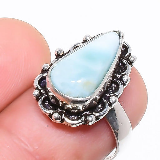 Caribbean Larimar Gemstone Ethnic Jewelry Ring Size 6.5 RR739