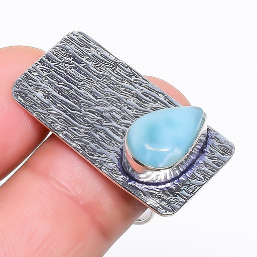 Caribbean Larimar Gemstone Ethnic Jewelry Ring Size 7.5 RR742