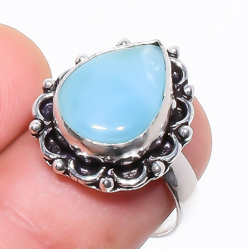 Caribbean Larimar Gemstone Ethnic Jewelry Ring Size 7 RR745