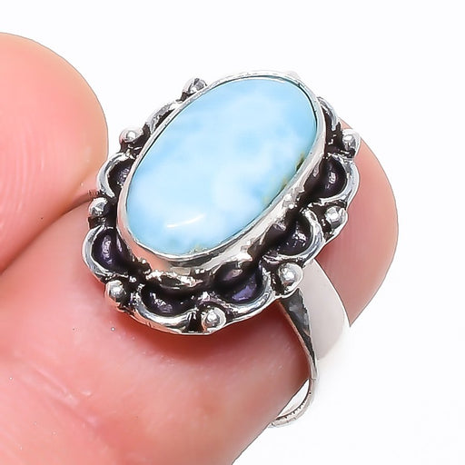 Caribbean Larimar Gemstone Ethnic Jewelry Ring Size 6.5 RR748